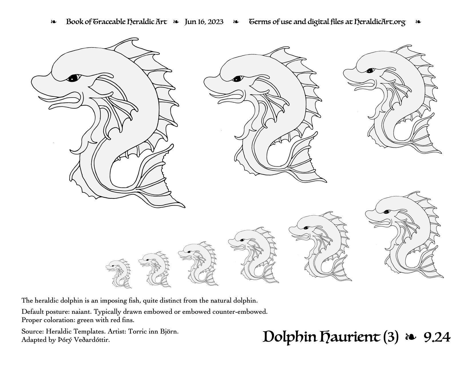 Dolphin - Traceable Heraldic Art
