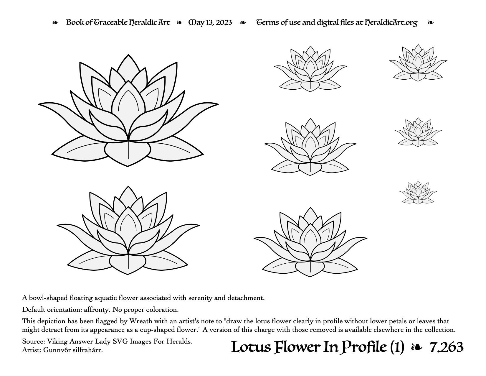 Lotus Traceable Heraldic Art