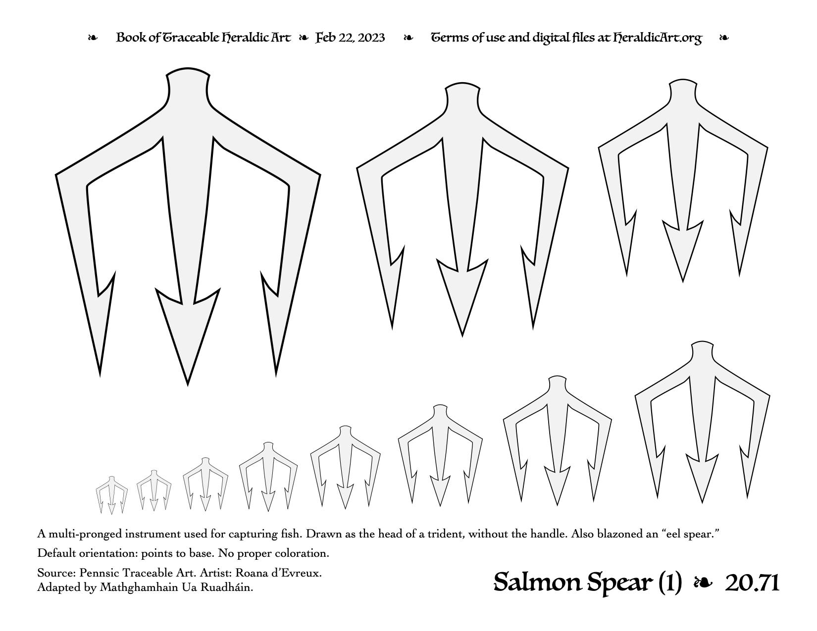 Salmon Spear - Traceable Heraldic Art