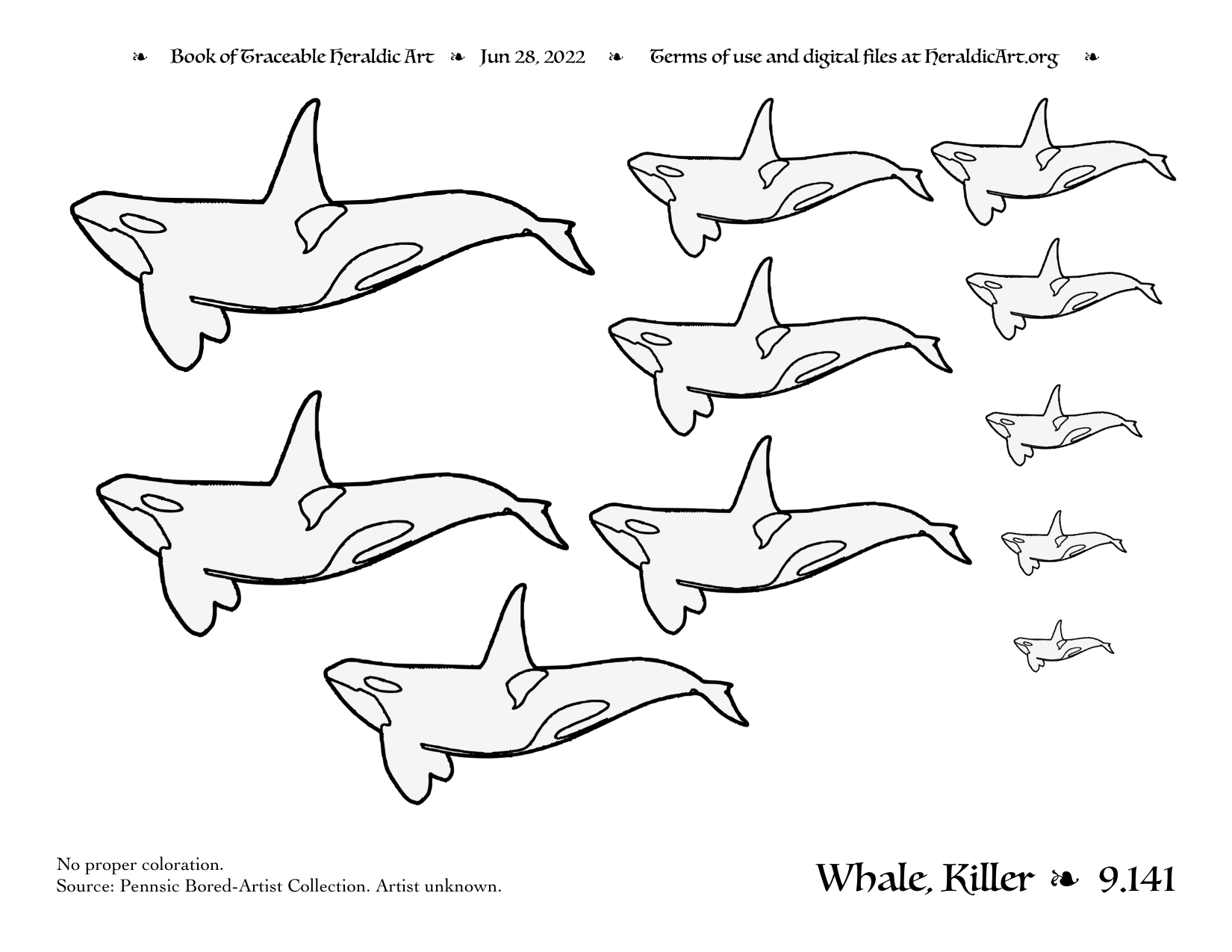 Whale Traceable Heraldic Art