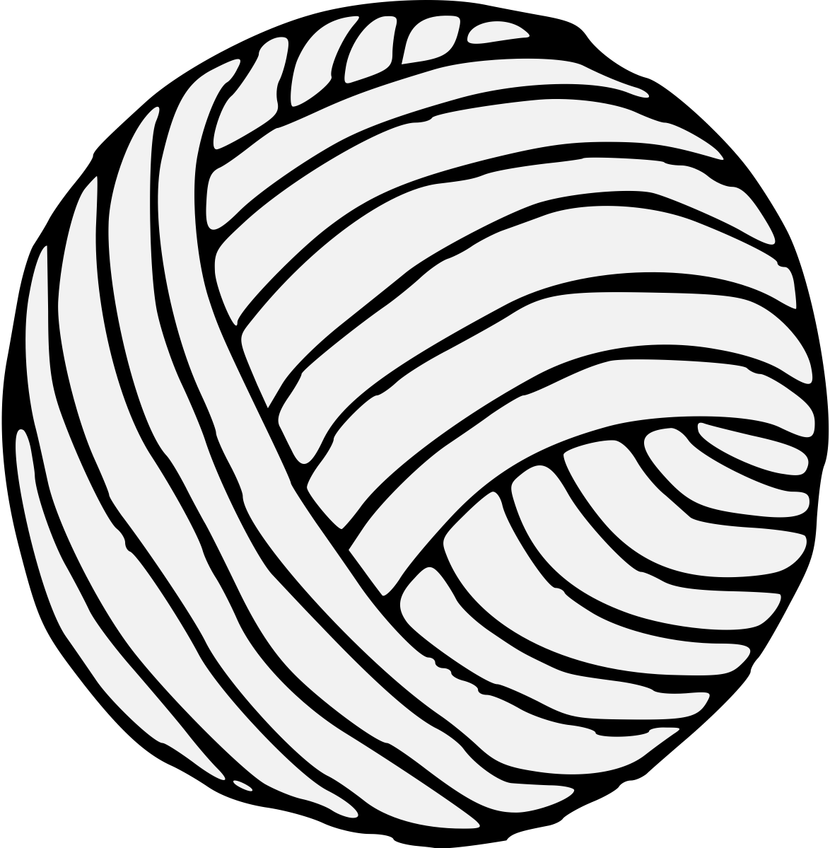 Yarn Clipart Black And White Drawn Ball Yarn 7 - Cl...